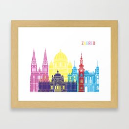 Zagreb skyline pop Framed Art Print