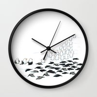 suit Wall Clocks featuring suit down by Ingrid Aspöck