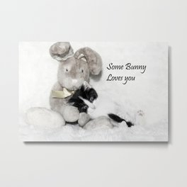 Easter bunny and kitten Metal Print