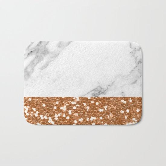 Marble and brass glitter Bath Mat