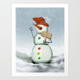 North Pole Bound Snowman Art Print