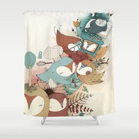 owls Shower Curtains featuring Owls by Laura Pastor