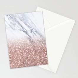 Rose Gold Glitter Marble Stationery Cards