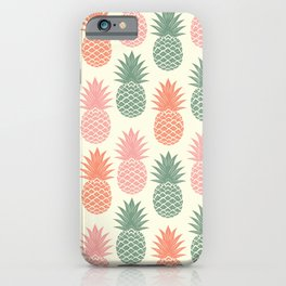 Pineapple hand drawn on old paper texture. Tropical Vintage illustration pattern. iPhone Case