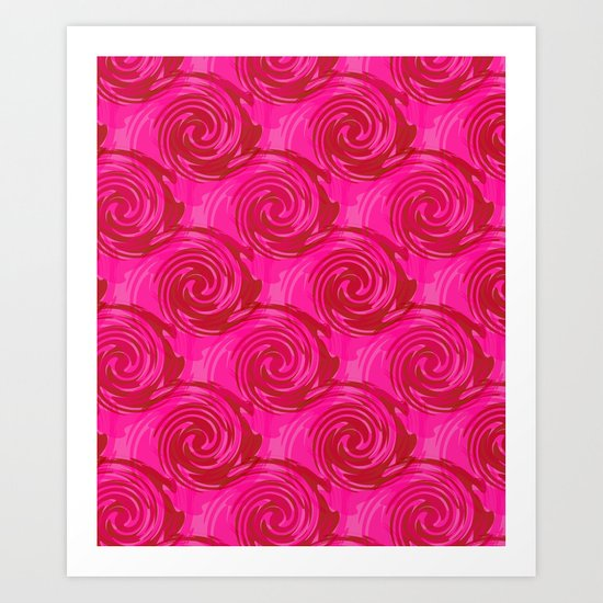 Abstract pattern in bright crimson tone. crimson . Art Print