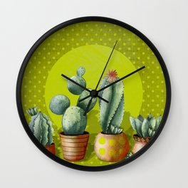 """Green Lemon Cactus Polka Dots"" Wall Clock"
