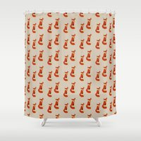 foxes Shower Curtains featuring Foxes by Zen and Chic