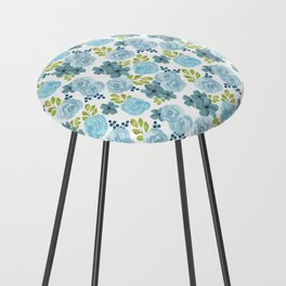 Blue Roses Counter Stool