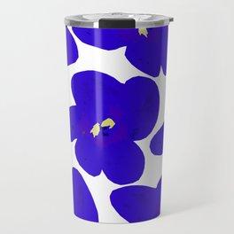 Blue Retro Flowers #decor #society6 #buyart Travel Mug