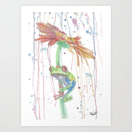 """Watercolor Painting of Picture """"Red Eyed Frog"""" Art Print"""