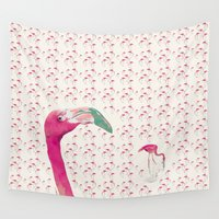 flamingo Wall Tapestries featuring Flamingo by la belette rose