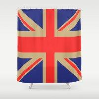 union jack Shower Curtains featuring Union Jack by MeMRB
