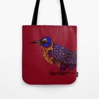 crow Tote Bags featuring Crow by Sarinya  Withaya