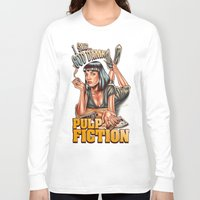 mia wallace Long Sleeve T-shirts featuring Mia Wallace - Pulp Fiction by Renato Cunha