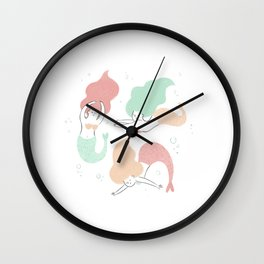 Colorful mermaids Wall Clock