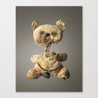 hologram Canvas Prints featuring Sad Mentalembellisher Poet Teddy Bear With Hologram Eyes by mentalembellisher