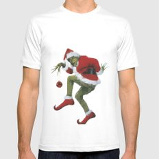 Christmas Grinch LARGE White Mens Fitted Tee