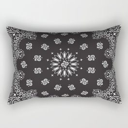 Paisley - Bandana - Black - Southwestern Art Rectangular Pillow