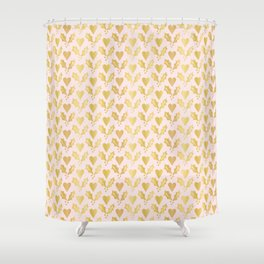 Luxe Rose Gold Foil Christmas Holly Berries Heart Pattern, Seamless Shower Curtain