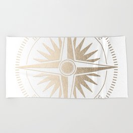 Gold on White Compass Beach Towel