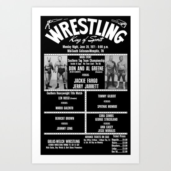 #14-B Memphis Wrestling Window Card Art Print