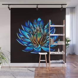 Multi Eyed Blue Water Lily Flower Wall Mural