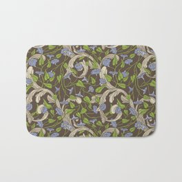 Blue morning glory with ornaments on brown background Bath Mat