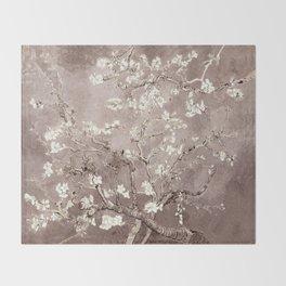 Van Gogh Almond Blossoms Beige Taupe Throw Blanket