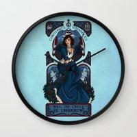 bioshock infinite Wall Clocks featuring Infinite Nouveau by Miss-Lys