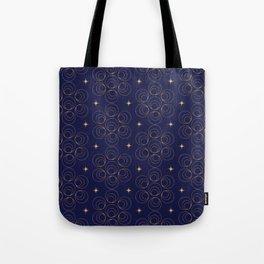 Abstract Faux Gold Circles and Stars Pattern Indigo Blue Tote Bag