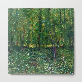 Brush and Underbrush flower and forest landscape by Vincent van Gogh Metal Print