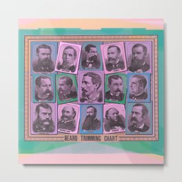 A Beard Trimming Chart Metal Print