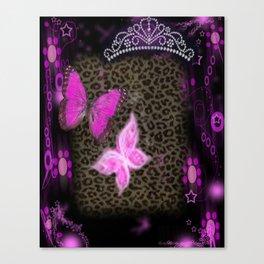 Princess Crown Pink Leopard Canvas Print