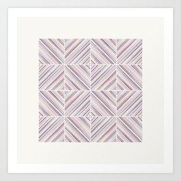 Herringbone Diamonds - Mauve Art Print
