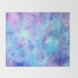 Bright Tarantula Nebula Aqua Lavender Periwinkle Throw Blanket