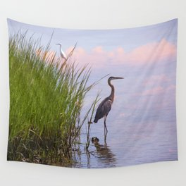Blue Heron In Assateague Wall Tapestry