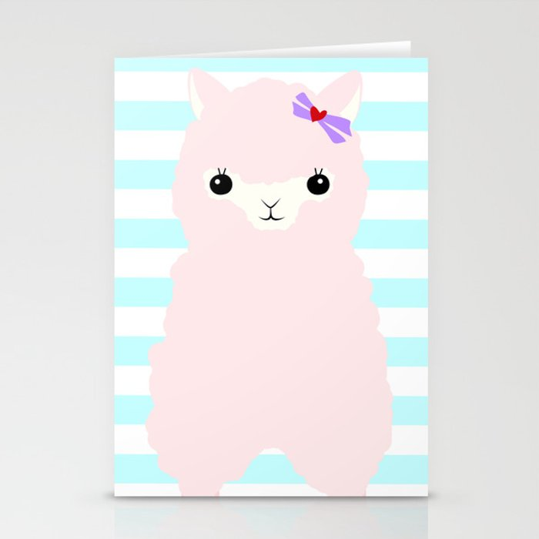 Alpaca In Love  Stationery Cards