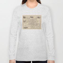 Vintage Map of Newcastle England (1851) Long Sleeve T-shirt