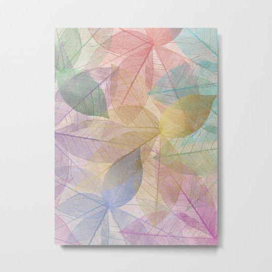 Colored Leaf Pattern Metal Print