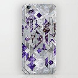Yoga Asanas in Amethyst on geometric pattern iPhone Skin