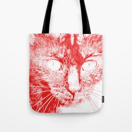 Fluffy's eyes drawing, red Tote Bag