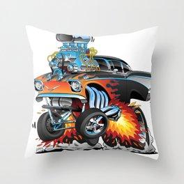 Classic hotrod 57 gasser drag racing muscle car cartoon Throw Pillow