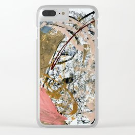 Symphony [2]: colorful abstract piece in gray, brown, pink, black and white Clear iPhone Case