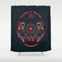 samurai Shower Curtains featuring Samurai by Defeat Studio