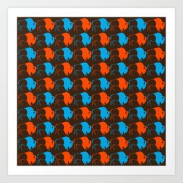 Orange Blue Buffalo Spirit Art Print