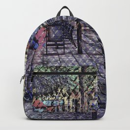 Seeing and nary talking. Pass another unbeknownst. Backpack