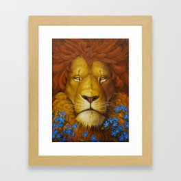 Lion Oil Painting, Animal Oil Painting on Canvas, Meditation Oil Painting, Cute Lion Wall Art Framed Art Print