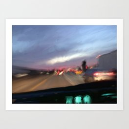 Commute at Dusk Art Print