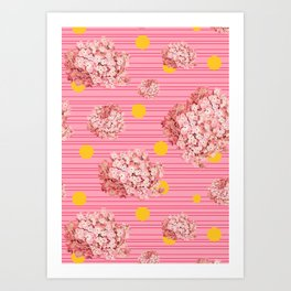 hydrangea spots and stripes Art Print