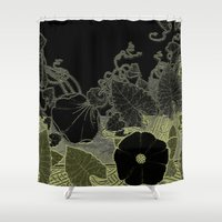 art nouveau Shower Curtains featuring Art nouveau background by dominiquelandau